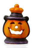 Isolated Halloween Lantern. Happy Halloween pumpkin lantern with scary face Royalty Free Stock Photo