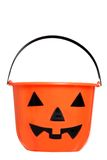 Isolated halloween pumpkin pail Stock Photography