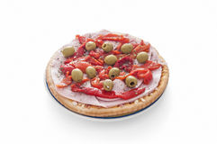 Isolated ham pizza with green olives Royalty Free Stock Photos