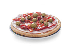 Isolated ham pizza with green olives Royalty Free Stock Photography