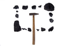 Isolated  hammer coal, carbon nuggets Royalty Free Stock Image