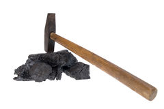 Isolated  hammer coal, carbon nuggets Stock Image