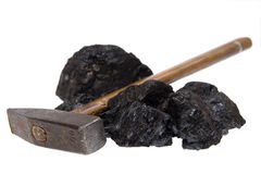 Isolated  hammer coal, carbon nuggets Stock Photography
