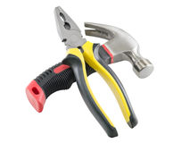 Isolated hammer and pliers Stock Images