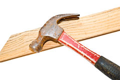 Isolated Hammer and Wood Royalty Free Stock Photography