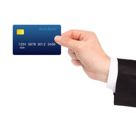 Isolated hand of a businessman holding a credit card Royalty Free Stock Photos