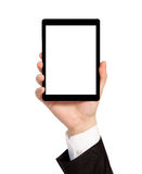 Isolated hand of a businessman holding a tablet with isolated sc Royalty Free Stock Photo