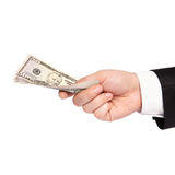 Isolated hand of a businessman in a suit holding a money Royalty Free Stock Photos