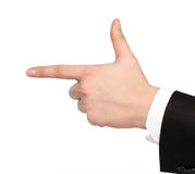 Isolated hand of a businessman shows the gun Stock Image