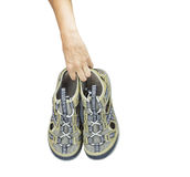 Isolated hand carry sport sandals with clippong path Royalty Free Stock Photography