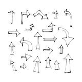 Isolated Hand drawn arrows. Set of hand drawn arrows on white background. Pointer vector illustration Royalty Free Stock Photos