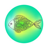 Isolated hand drawn black outline fish on colored round background. Ornament of curve lines. Isolated hand drawn black outline fish on colored round background Stock Images