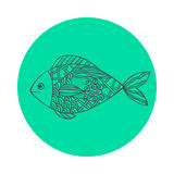Isolated hand drawn black outline fish on sea green round background. Ornament of curve lines. Isolated hand drawn black outline fish on sea green round Stock Images