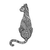 Isolated hand drawn black outline monochrome abstract ornate back of cat on white background. Ornament of curve lines. Isolated hand drawn black outline royalty free illustration