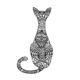 Isolated hand drawn black outline monochrome abstract ornate back of cat on white background. Ornament of curve lines. Page of col. Oring book royalty free illustration