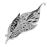 Isolated hand drawn black outline monochrome abstract ornate bird feather on white background. Ornament of curve lines. Isolated hand drawn black outline royalty free illustration