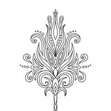 Isolated hand drawn black outline monochrome abstract ornate flower on white background. Ornament of curve lines. Royalty Free Stock Photography