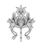 Isolated hand drawn black outline monochrome abstract ornate flower on white background. Ornament of curve lines. Royalty Free Stock Photo