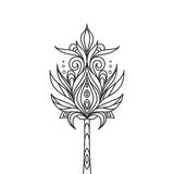 Isolated hand drawn black outline monochrome ornate flower on white background. Abstract ornament of curve lines. Stock Images