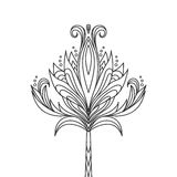 Isolated hand drawn black outline monochrome ornate flower on white background. Abstract ornament of curve lines. Stock Photo