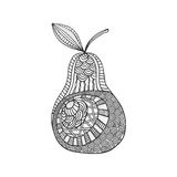 Isolated hand drawn black outline pear on white background. Ornament of curve lines. Isolated hand drawn black outline pear on white background. Ornament of Stock Photo