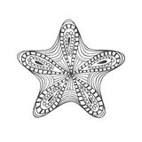 Isolated hand drawn black outline starfish on white background. Star ornament of curve lines. Stock Image