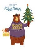 Isolated Hand-drawn cartoon bear Stock Photography
