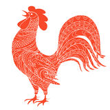Isolated hand drawn decorated red rooster. Symbol 2017 of year red rooster of Chinese calendar. Zen tangled rooster can be used for adult coloring book. eps 10 Stock Images