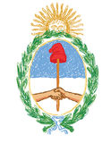 Isolated hand drawn  emblem of argentina - yellow sun, wre Stock Photos