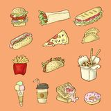 Isolated hand drawn fast food illustrations on orange background. vector illustration