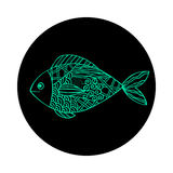 Isolated hand drawn green outline fish on black round background. Ornament of curve lines. Isolated hand drawn green outline fish on black round background Royalty Free Stock Photo