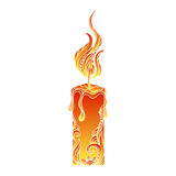 Isolated hand drawn outline colored candle light on white background. Ornament of curve lines. Stock Images
