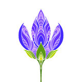 Isolated hand drawn white outline colored, coloured of violet, purple and green color ornate flower on white background. Ornament Stock Photos