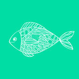 Isolated hand drawn white outline fish on sea green background. Ornament of curve lines. Royalty Free Stock Photos