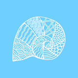 Isolated hand drawn white outline shell on blue background. Ornament of curve lines. Stock Images