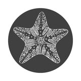 Isolated hand drawn white outline starfish on black round background. Star ornament of curve lines. Royalty Free Stock Photography