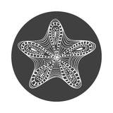 Isolated hand drawn white outline starfish on black round background. Star ornament of curve lines. Royalty Free Stock Photo