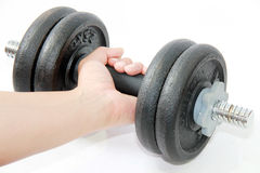 Isolated hand  with dumbbell Royalty Free Stock Photo