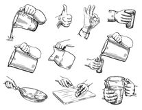 Isolated hand gestures illustration Royalty Free Stock Photos