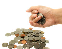 Isolated hand get money coins Stock Images