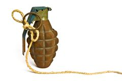 Isolated hand grenade concept on white. Background Royalty Free Stock Image