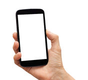 Isolated hand holding a black smartphone with blank screen Stock Photography