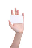 Isolated Hand holding card Royalty Free Stock Photos