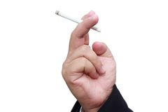 Isolated hand holding cigarette Stock Photography