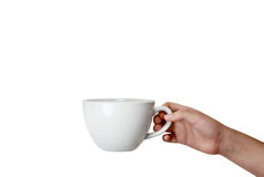 Isolated Hand Holding Coffee Cup Stock Image