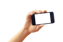 Isolated hand holding smartphone or phone Stock Photography