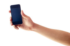 Isolated hand holding smartphone or phone. Two clipping path is in jpg, hand outline and the phone screen Royalty Free Stock Photos