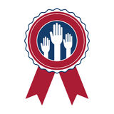 Isolated hand inside seal stamp of vote design Royalty Free Stock Photography