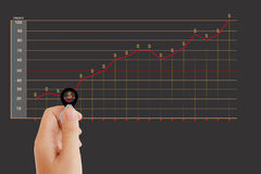 Isolated hand with lens and profit income diagram background Stock Photo