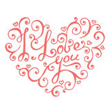 Isolated hand lettering hearts for Valentines day. Royalty Free Stock Photography